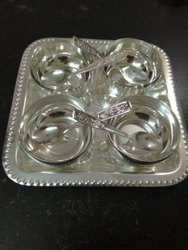Silver Coated Bowl With Tray Set