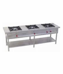 Stainless Steel Three Burner Cooking Range