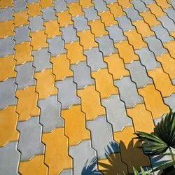 60 mm Yellow Concrete Zig Zag Pavers Block for Pavement