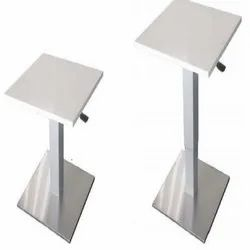 Stainless Steel and Wooden Pneumatic Square Column Table