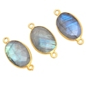 Labradorite Oval Shape Bezel Connector