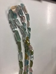 Multi Aquamarine Tube Facetate Beads