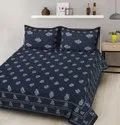 Cotton Dabu Print Double Bed Sheet With 2 Pillow (Chain Cover)
