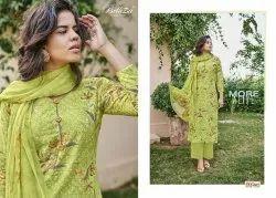 Cotton Green Unstiched Dress Materials