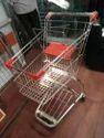 Stainless Steel Orange, Silver Super Market Trolley