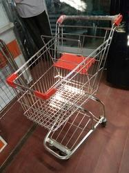 Stainless Steel Orange, Silver Super Market Trolley