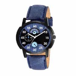Men Blue Quartz Analog Black Round Dial Watch