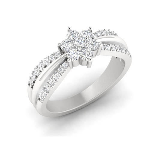 White Gold Flower Diamond Engagement Ring At Rs 37048 Piece