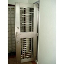 Silver Polished Stainless Steel Safety Door