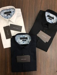 Satin Collar Neck Zara Man Plain Mens Shirts
