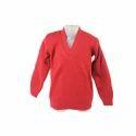 Red Plain Ladies V-neck Sweater