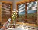 Motorised Brown Window Covering - Wooden Venetian Blinds