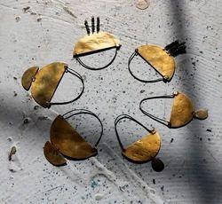 Brass Finish Geometric Hoop Earrings