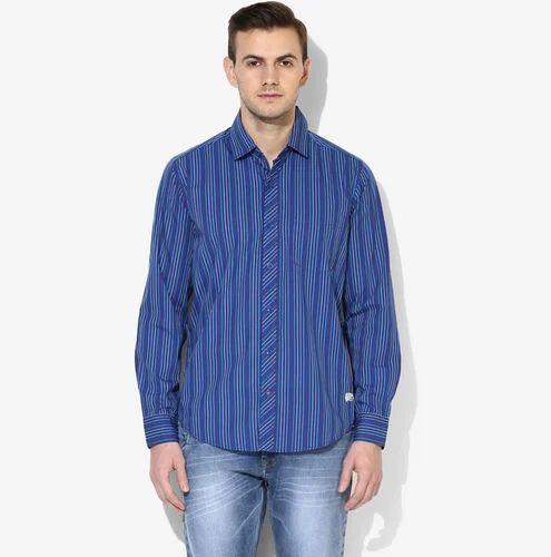 83927620d7 Reguler Cotton Red Chief 8110382 Blue Striped Regular Fit Casual Shirt