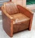 Indian Aviator Furniture - Vintage Aviator Furniture - Single Leather Sofa Chair