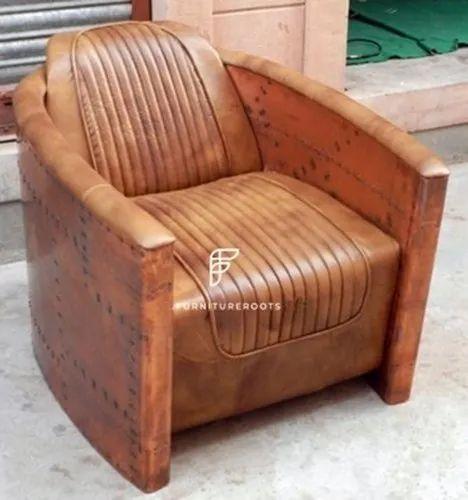 Indian Aviator Furniture - Vintage Aviator Furniture - Single Leather Sofa Chair