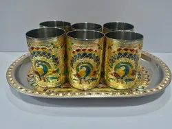 Golden Peacock Designer Glass Set