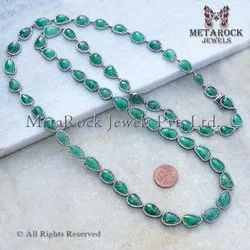 Rose-Cut Emerald with Diamond 925 Silver Necklace, Diamond Gemstone Necklace