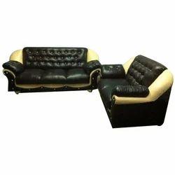 Black And Cream Leather Sofa set