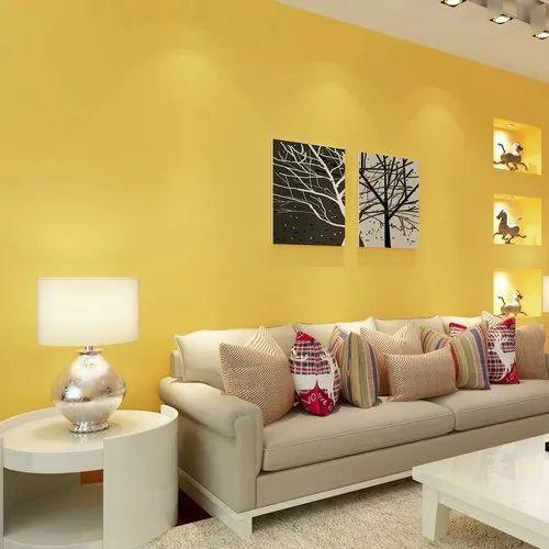 Vinyl Yellow Plain Wallpaper For Wall Decor Rs 30 Square Feet Mudra Corp Id 20999007933