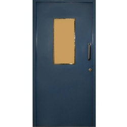 Blue Powder Coated Mild Steel Safety Door, Thickness: 22 Mm