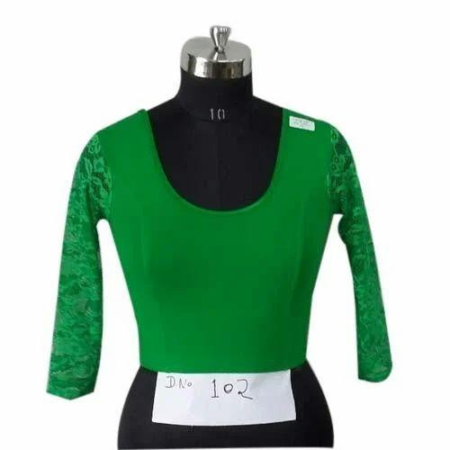 2e23441e9d660 30-40 Green Cotton Lycra Stretchable Blouse