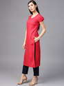 Coral Solid Straight Kurta With Embroidery