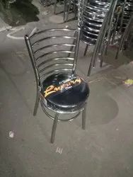 Black Furniture Steel Chair, For Restaurant, Size: 34 Inch