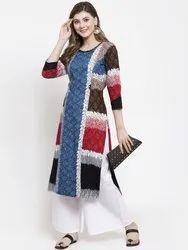 Straight Multicolor Ladies Rayon Printed Kurti