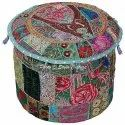 Cotton Embroidered Latest Ottoman Pouf