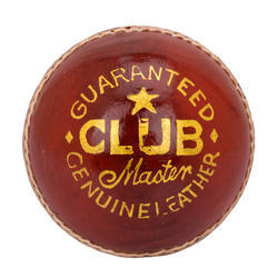 BDM Club Master Red Cricket Leather Ball, 155-165 Gm, Size: Men