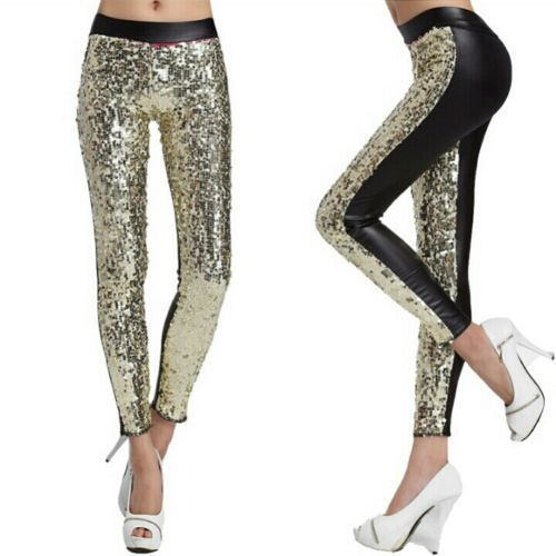 7b112a20 Regular Fit Party Wear Women Sequin Gold Fashionable Stylish Pant, M ...