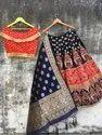 Red Thankar Designer Heavy Banarasi Lehenga, 1 Top 1 Bottom 1 Duppata