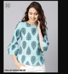 Cotton Round Neck Sky Blue Printed Top, Size: XS-XXXL