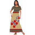 Ladies Half Sleeves Cotton Nighty Dn2250, Size: S & M