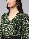 Women's Green Animal Print Maxi Dress With Embellished Belt