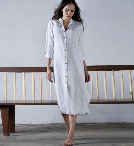450a36a2436 White Linen Shirt Dress, Rs 5000 /piece, Khara Kapas | ID: 18437346433