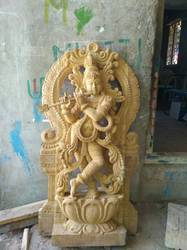 Teak Lord Krishna 4ft Statue