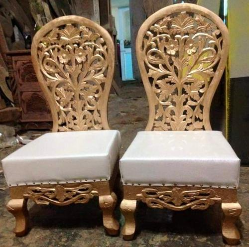 Carved Teak Magic Wardrobe.Chairs Tables Antique Wooden Carved Golden White Vedi Chair