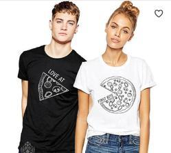 Mens Round Neck T Shirt Love at first bite for couple