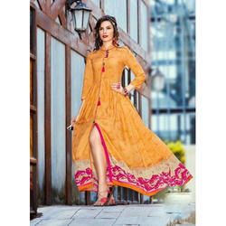 Ladies Printed Anarkali Frock Suit, Size: S to XL