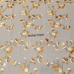 Embroidered Cotton Voile Fabric with Embroidery, GSM: 100-150