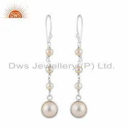 Natural Pearl Gemstone Fine Sterling Silver Dangle Drop Earrings