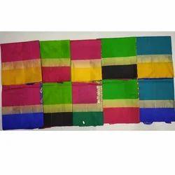 Multicolor Plain Zari Border Kanchipuram Silk Saree, 6.3 m (with blouse piece)