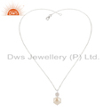 Crystal and Pearl Gemstone Fine Silver Chain Pendant Jewelry