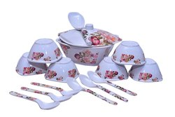 Utensza Melamine Peach Blossom Design Square Pudding Set, 15 Pcs