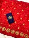 Heavy Butterfly Embroidered Sana Silk Saree With Blouse And Piping Border