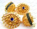 Kumar Jewels Anniversary Ethnic Blue Color Golden Jhumka Earring