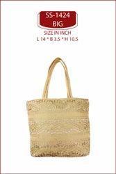 GOLDEN DUPION SILK and Embroidered lace bag. designer lace bag