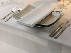Mercury White & Red Damask Satin Band Napkins For Restaurant, Size: 21 x 21 inches